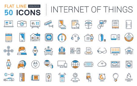 フラット セット ベクトル線アイコンのデザインものの要素を持つ携帯電話の概念と web アプリのためのガジェット スマート インターネットの。コ