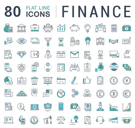 Set vector line icons in flat design finance and business with elements for mobile concepts and web apps. Collection modern infographic logo and pictogram.