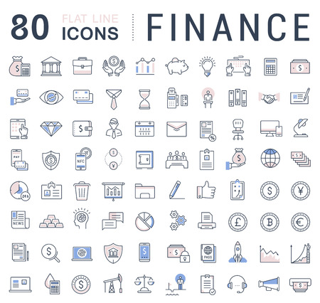 dollar icon: Set vector line icons in flat design finance and business with elements for mobile concepts and web apps. Collection modern infographic logo and pictogram.