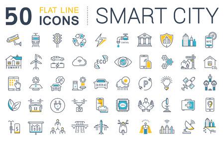 Fije los iconos del vector de línea de ciudad inteligente diseño plano y la tecnología con elementos móviles de conceptos y aplicaciones web. Colección moderna logotipo de infografía y pictograma.