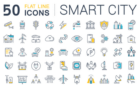 infrastructure buildings: Set vector line icons in flat design smart city and technology with elements for mobile concepts and web apps. Collection modern infographic logo and pictogram.