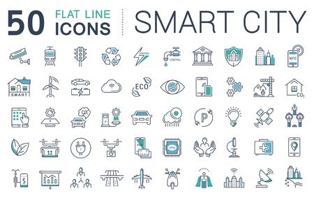 Fije los iconos del vector de línea de diseño plano sidad inteligente y la tecnología con elementos móviles de conceptos y aplicaciones web. Colección moderna logotipo de infografía y pictograma. Logos