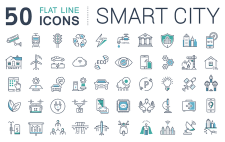 electric train: Set vector line icons in flat design smart sity and technology with elements for mobile concepts and web apps. Collection modern infographic logo and pictogram.