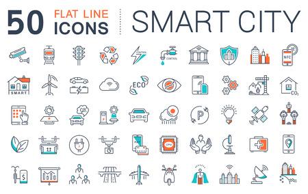 Set vector line icons in flat design smart sity and technology with elements for mobile concepts and web apps. Collection modern infographic logo and pictogram. Imagens - 56577310