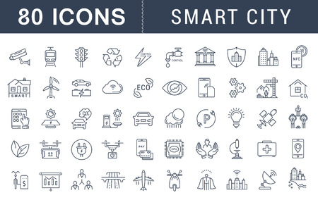 Fije los iconos de la línea vector con el camino abierto sidad inteligente y la tecnología con elementos móviles de conceptos y aplicaciones web. Colección moderna logotipo de infografía y pictograma.