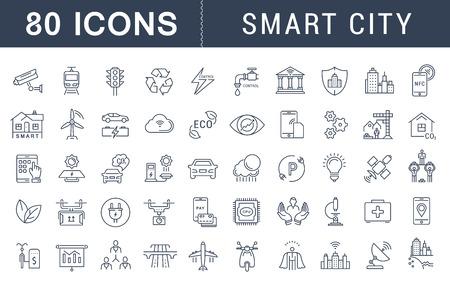 Impostare linea di icone vettoriali con percorso aperto sità intelligente e tecnologia con gli elementi per i concetti di telefonia mobile e applicazioni web. Collezione moderna logo infografica e pittogrammi.