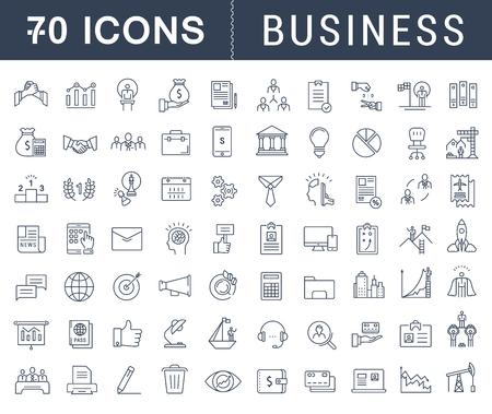 Fije los iconos del vector de línea de negocio con trazado abierto, las finanzas y el trabajo en equipo con los elementos móviles de conceptos y aplicaciones web. Colección infografía moderna y pictograma Ilustración de vector