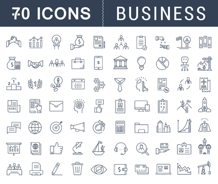 Set vector line icons with open path business, finance and teamwork with elements for mobile concepts and web apps. Collection modern infographic  and pictogram