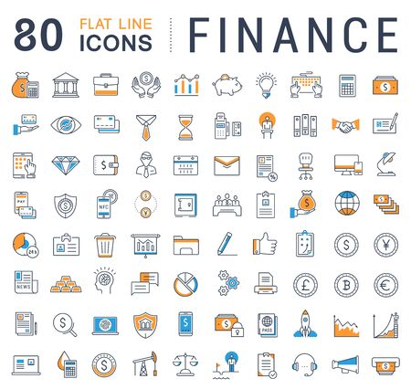 Set vector line icons with open path finance and business with elements for mobile concepts and web apps. Collection modern infographic  and pictogram. Vettoriali