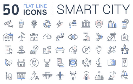 sity: Set vector line icons in flat design smart sity and technology with elements for mobile concepts and web apps. Collection modern infographic  and pictogram.