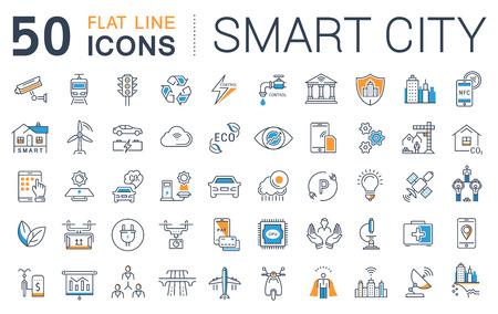 Définir ligne icônes vectorielles avec chemin ouvert sité intelligent et la technologie avec des éléments pour les concepts mobiles et des applications web. Collection infographique moderne et pictogramme. Vecteurs