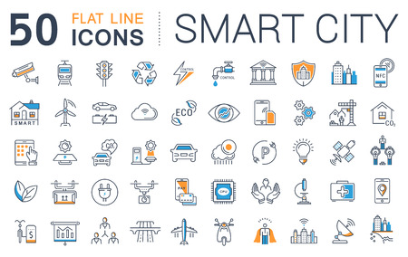 Set vector line icons with open path smart sity and technology with elements for mobile concepts and web apps. Collection modern infographic  and pictogram. Illustration
