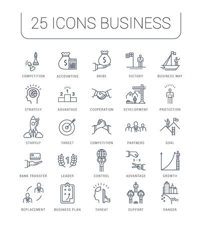 Définir ligne icônes vectorielles avec la concurrence de chemin ouvert d'affaires, le développement du leadership, la gestion des personnes avec des éléments pour des concepts mobiles et des applications web. Collection infographique moderne.