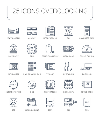 ssd: Set vector line icons with open path upgrading computer and hardware, overclocking, cooling, test cpu and gpu with elements for mobile concepts and web apps. Collection modern infographic Illustration