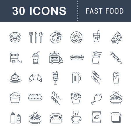 Set vector line icons with open path fast food and Chinese food with elements for mobile concepts and web apps. Collection modern infographic  and pictogram. Vectores