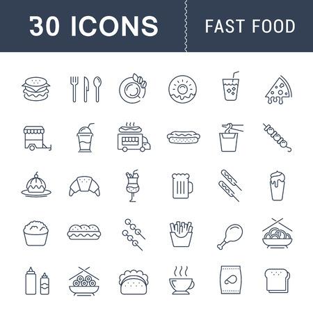 Ustawianie ikon linii wektorowych z otwartą ścieżką fast food i chińską kuchnią z elementami mobilnych pojęć i aplikacji sieciowych. Zbiór nowoczesnych infografiki i piktogramów.