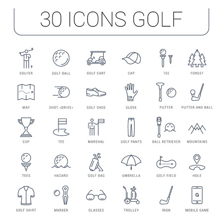 Set vector line icons with open path game golf and golf equipments with elements for mobile concepts and web apps. Collection modern infographic  and pictogram.