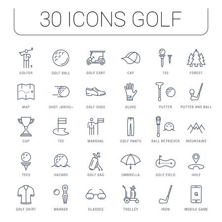 Stel vector lijn iconen met open pad golf en golf apparatuur met elementen voor mobiele concepten en web apps. Verzameling moderne infographic en pictogram.