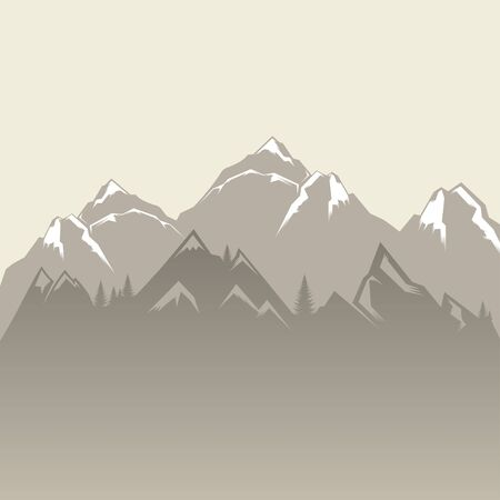 horizon over land: Design vector illustration of mountains and forests. Mountain landscape. Vector Silhouettes Of Mountains Backgrounds. Illustration