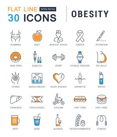 Ensemble d'icônes de lignes vectorielles dans plat obésité conception, la malbouffe et de la santé avec des éléments pour les concepts mobiles et des applications web. Collection infographique moderne et pictogramme. Vecteurs