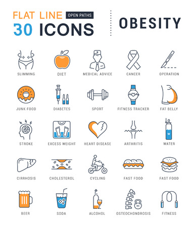 diabetes food: Set vector line icons in flat design obesity, junk food and health with elements for mobile concepts and web apps. Collection modern infographic  and pictogram.
