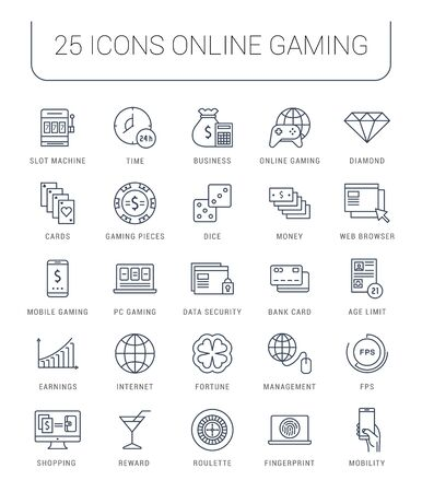 roulette online: Set vector line icons with open path online gaming, casino, slot machine and slots, mobile gaming with elements for mobile concepts and web apps. Collection modern infographic  and pictogram