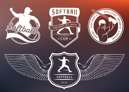 pitching: Vector set Softball badges and . Collection sign, emblems, and symbols Softball for print, t shirt, posters and others design. Illustration