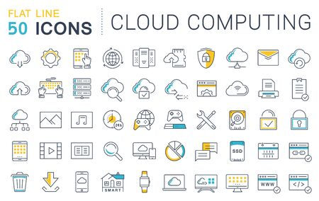 syncing: Set vector line icons in flat design with elements cloud computing for mobile concepts and web apps. Collection modern infographic logo and pictogram. Illustration