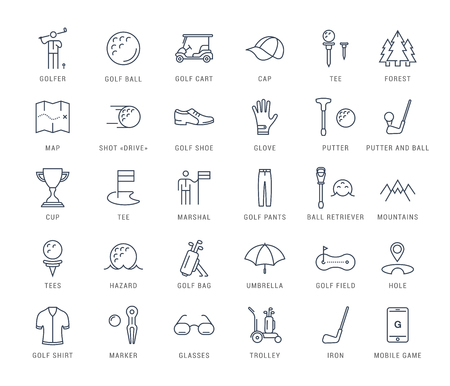 Set vector line icons with open path game golf and golf equipments with elements for mobile concepts and web apps. Illustration