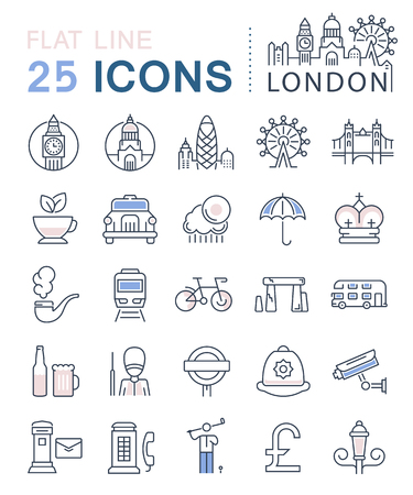 gherkin building: Set vector line icons in flat design London and England with elements for mobile concepts and web apps.