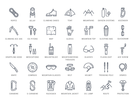 Set vector line icons with open path mountaineering and hiking with elements for mobile concepts and web apps.