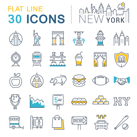 broadway tower: Set vector line icons in flat design New York and USA with elements for mobile concepts and web apps.