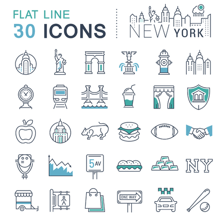 Set vector line icons in flat design New York and USA with elements for mobile concepts and web apps.
