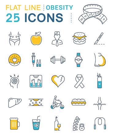 Ensemble d'icônes de lignes vectorielles dans plat obésité conception, la malbouffe et de la santé avec des éléments pour les concepts mobiles et des applications web. Vecteurs