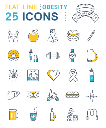 Set vector line icons in flat design obesity, junk food and health with elements for mobile concepts and web apps.