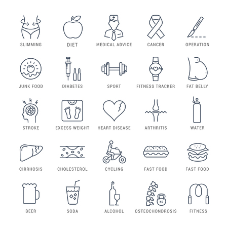 beer belly: Set vector line icons in flat design obesity, junk food and health with elements for mobile concepts and web apps.