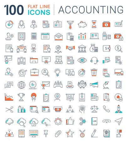 Ensemble d'icônes de lignes vectorielles dans la comptabilité plat de conception, des finances et des affaires avec des éléments de concepts mobiles et des applications web.