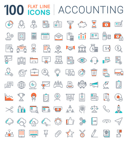 tax attorney: Set vector line icons in flat design accounting, finance and business with elements for mobile concepts and web apps.