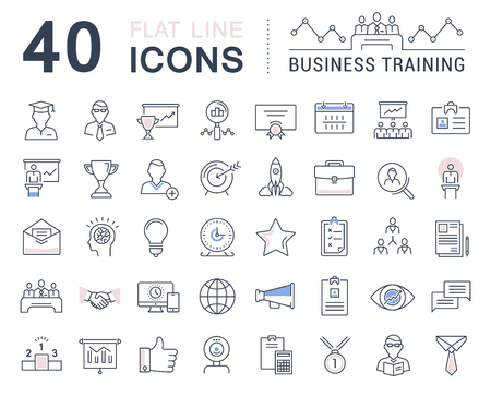 course development: Set vector line icons in flat design business training and development, training course, business meeting with elements for mobile concepts and web apps.