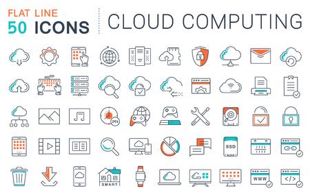Set icônes de ligne de vecteur dans la conception plate avec des éléments Cloud Computing pour les concepts mobiles et des applications web. Vecteurs