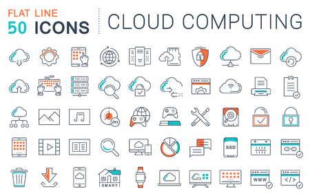 Set vector line icons in flat design with elements cloud computing for mobile concepts and web apps. 免版税图像 - 58456746