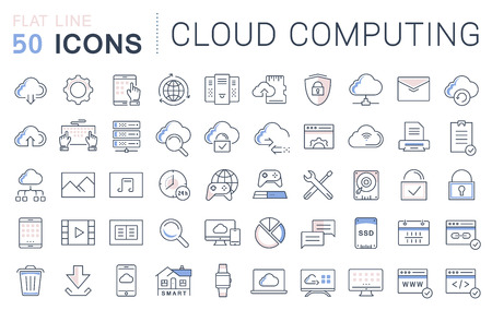 api: Set vector line icons in flat design with elements cloud computing for mobile concepts and web apps.