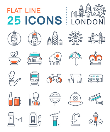 gherkin building: Set vector line icons in flat design London and England with elements for mobile concepts and web apps