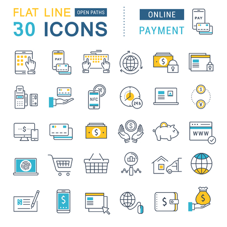Fije los iconos del vector de línea en el diseño de la banca en línea plana, pagos y compras en línea con los elementos móviles de conceptos y aplicaciones web. Foto de archivo - 58457025