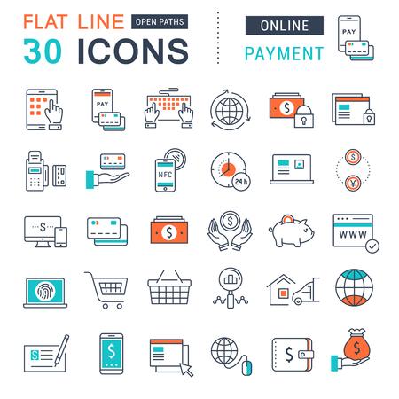 お支払いと携帯電話の概念と web アプリの要素を持つオンライン ショッピング オンライン バンキング、フラットなデザインのベクター線のアイコン  イラスト・ベクター素材