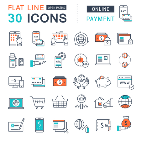 Set vector line icons in flat design online banking, payment and online shopping with elements for mobile concepts and web apps. Collection modern infographic logo and pictogram.