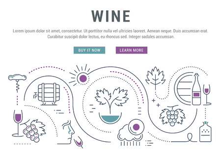 wine making: Flat line illustration of wine making, grape cultivation and sale of alcoholic beverages. landing page.