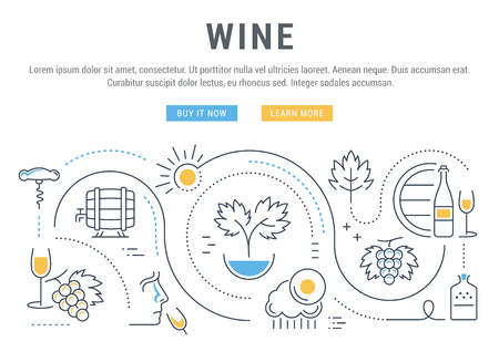 alcoholic beverages: Flat line illustration of wine making, grape cultivation and sale of alcoholic beverages.