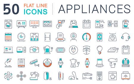 Stel vector lijn iconen in plat design toestel, slimme apparaten en gadgets, moderne web pictogrammen en symbolen met elementen voor mobiele concepten en web apps. Stock Illustratie