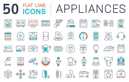 Set vector line icons in flat design appliance, smart devices and gadgets, modern web icons and symbols with elements for mobile concepts and web apps.
